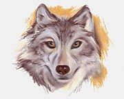 Wolf Pastels Posters - The Wolf Poster by MM Anderson