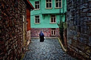 Alleyway Posters - The woman near Chora Church Poster by Joan Carroll