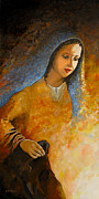 Virgin Mary Paintings - The Wonderment of Mary - Virgin Mary Madonna Mother of Jesus Christ Child by Carla Holiday