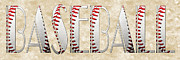 Fun Mixed Media Prints - The Word Is BASEBALL Print by Andee Photography