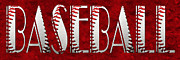 Baseballs Mixed Media Framed Prints - The Word Is BASEBALL On Red Framed Print by Andee Photography