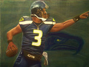 Quarterback Pastels Prints - The Word is Out feat Russell Wilson Print by D Rogale