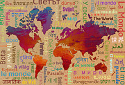 Text Map Framed Prints - The World Framed Print by Bedros Awak