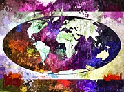 Map Of The World Painting Posters - The World Grunge Poster by Daniel Janda