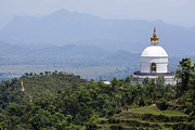 World Peace Art - The World Peace Pagoda at Pokhara in Nepal by Robert Preston