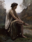 Headband Metal Prints - The Wounded Eurydice Metal Print by Jean Baptiste Camille Corot