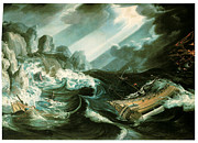 Ship Rough Sea Prints - The Wreck of the Amsterdam Print by Flemish School