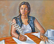 Lifestyle Painting Originals - The writer by Dominique Amendola