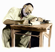 Author Drawings Framed Prints - The Writer    Ernest Hemingway Framed Print by Iconic Images Art Gallery David Pucciarelli