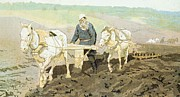 Farming Painting Prints - The writer Lev Nikolaevich Tolstoy Print by Ilya Efimovich Repin