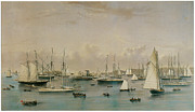 Boats In The Harbor Framed Prints - The Yacht Squadron at Newport Framed Print by Nathaniel Currier and James Merritt Ives
