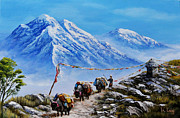 Yak Painting Posters - The Yak herder  Poster by Karma  Loday