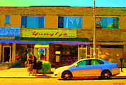 Montreal Restaurants Paintings - The Yangtze Chinese Food Restaurant On Van Horne Montreal Memories Cafe Street Scene Carole Spandau  by Carole Spandau