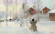 Sledge Framed Prints - The Yard and Wash House Framed Print by Carl Larsson
