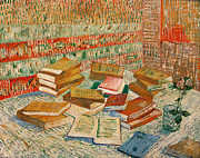 Interior Still Life Painting Metal Prints - The Yellow Books Metal Print by Vincent Van Gogh
