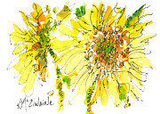 Watercolor And Ink Paintings - The Yellow Flower by Kathleen McElwaine