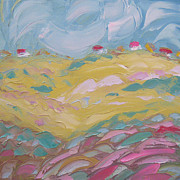 Impasto Oil Paintings - The yellow hill by Solomoon Art Studio