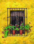 Window Bars Prints - The Yellow House Print by Lew Davis