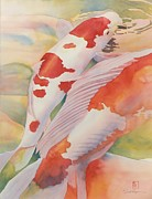 Koi Painting Framed Prints - The Yellow River Framed Print by Robert Hooper