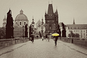 Charles Bridge Photo Metal Prints - The Yellow Umbrella Metal Print by Ivy Ho