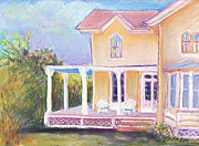 Salt Air Paintings - The Yellow Victorian By The Sea by Deborah Burow