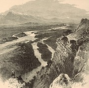 White River Drawings - The Yellowstone by Antique Engravings