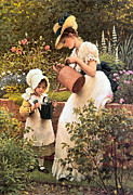 Kid Prints - The Young Gardener 1889 Print by George Dunlop Leslie