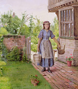 Burden Painting Metal Prints - The Young Milkmaid Metal Print by George Goodwin Kilburne