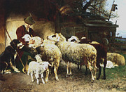 Farm Animals Digital Art Posters - The Young Shepherd Poster by Heirich von Zugel