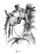 Horse Drawings - the Youngsters playing by Angel  Tarantella