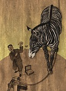 Illustration Drawings Metal Prints - The Zebra Metal Print by Dirk Dzimirsky