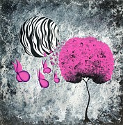 Fantasy Tree Art Paintings - The Zebra Effect 1 by Oddball Art Co by Lizzy Love