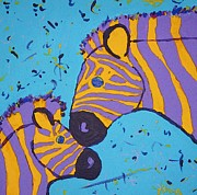 Pic Painting Posters - The Zebra Nuzzle Poster by Yshua The Painter