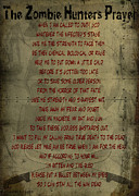 Zombie Posters - The Zombie Hunters Prayer Poster by Cinema Photography