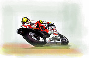 Champion Drawings - The Zone Kevin Schwantz by Iconic Images Art Gallery David Pucciarelli