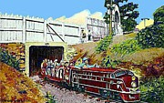 Amusement Parks Paintings - The Zoo Choo On Magic Mountain In Roanoke Va by Dwight Goss