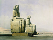 Historic Statue Painting Framed Prints - Thebes Framed Print by David Roberts
