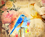 Song Birds Posters - Their Sounds Fill The Air Poster by Arline Wagner