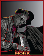 Thelonius Monk Framed Prints - Thelonius Monk Legendary Jazz  Pianist Framed Print by Larry Butterworth