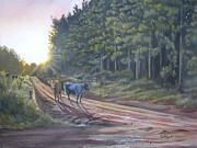 Angus Steer Painting Metal Prints - Them cows is out again Metal Print by Callie Smith