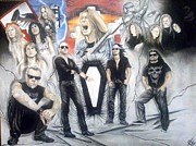 Metallica Drawings - Then and Now  Hetfield and Company  by Christopher Schaar