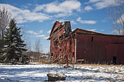 Red Barn In Winter Photos - Then the Roof Caved In by Ginger Harris