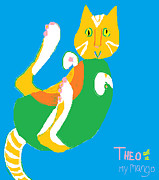 Mango Digital Art Prints - Theo My Mango Print by Anita Dale Livaditis