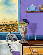 Teapot Paintings - There are birds in the kitchen sink by Susan Culver