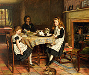 Daughters Metal Prints - There is no Fireside... Metal Print by George Goodwin Kilburne