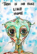 Aliens Drawings Posters - There Is No Place Like Home Poster by Fabrizio Cassetta