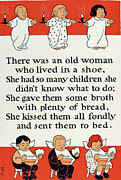 Nursery Rhyme Framed Prints - There was an old women who lived in a shoe Framed Print by Mother Goose