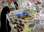 Barb Greene Mann Metal Prints - Theres always A VW Bus at  the Drive- In Metal Print by Barb Greene mann
