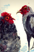 Watercolor Roosters Framed Prints - Theres Been Some Talk . . . Framed Print by Dawn Derman