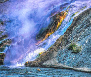 Super Volcano Prints - Thermal Geyser Runs into Yosemite River Print by Nadine and Bob Johnston